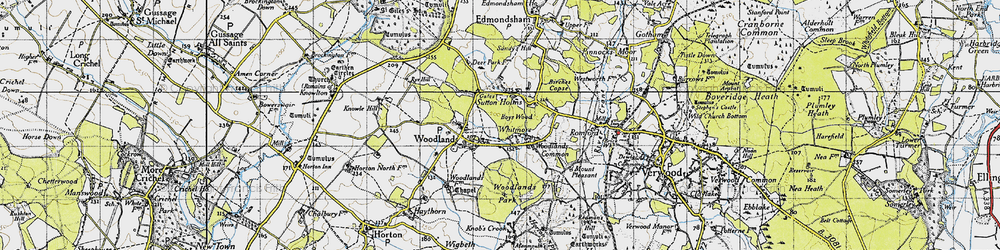 Old map of Woodlands in 1940