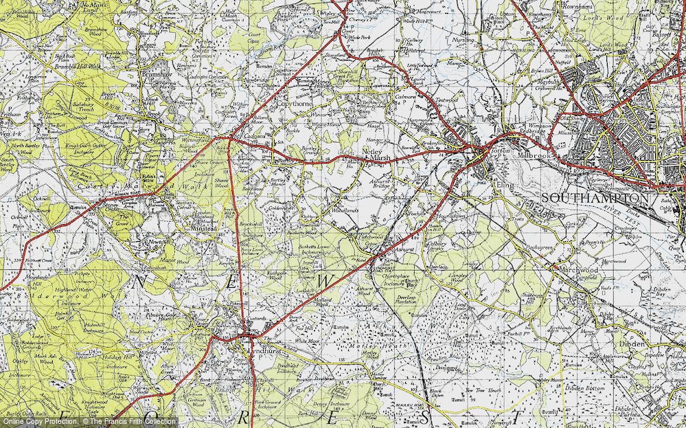 Old Map of Woodlands, 1945 in 1945