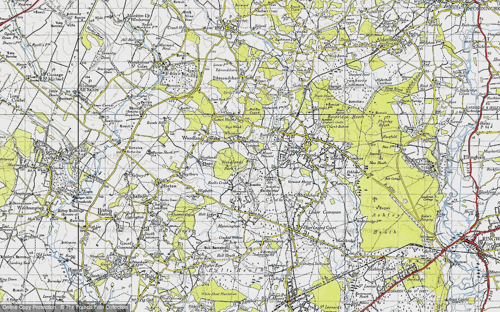 Old Map of Woodlands Common, 1940 in 1940