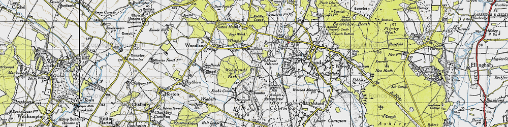 Old map of Woodlands Common in 1940