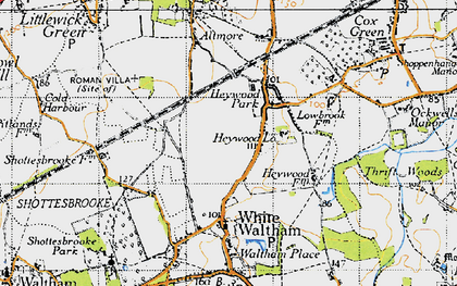 Old map of Woodlands Park in 1947