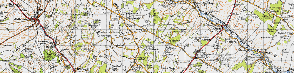 Old map of Woodlands St Mary in 1947