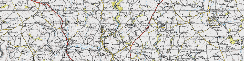 Old map of Woodleigh in 1946