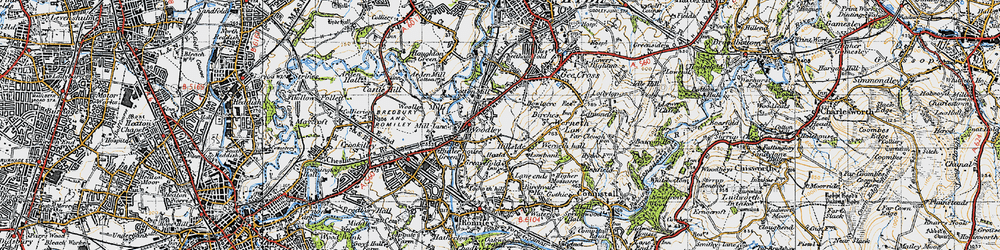 Old map of Woodley in 1947