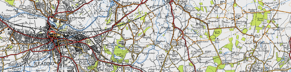 Old map of Woodley Green in 1940