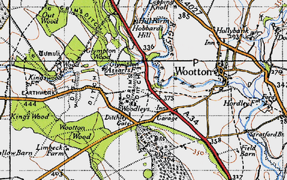 Old map of Wootton Wood in 1946