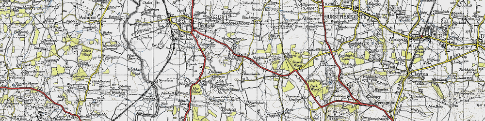 Old map of Woodmancote Place in 1940