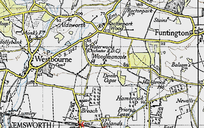 Old map of Woodmancote in 1945