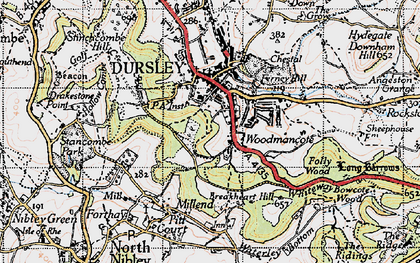 Old map of Woodmancote in 1946