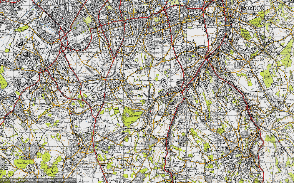 Old Map of Woodmansterne, 1945 in 1945