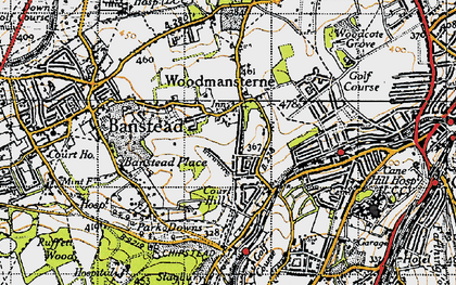 Old map of Woodmansterne in 1945