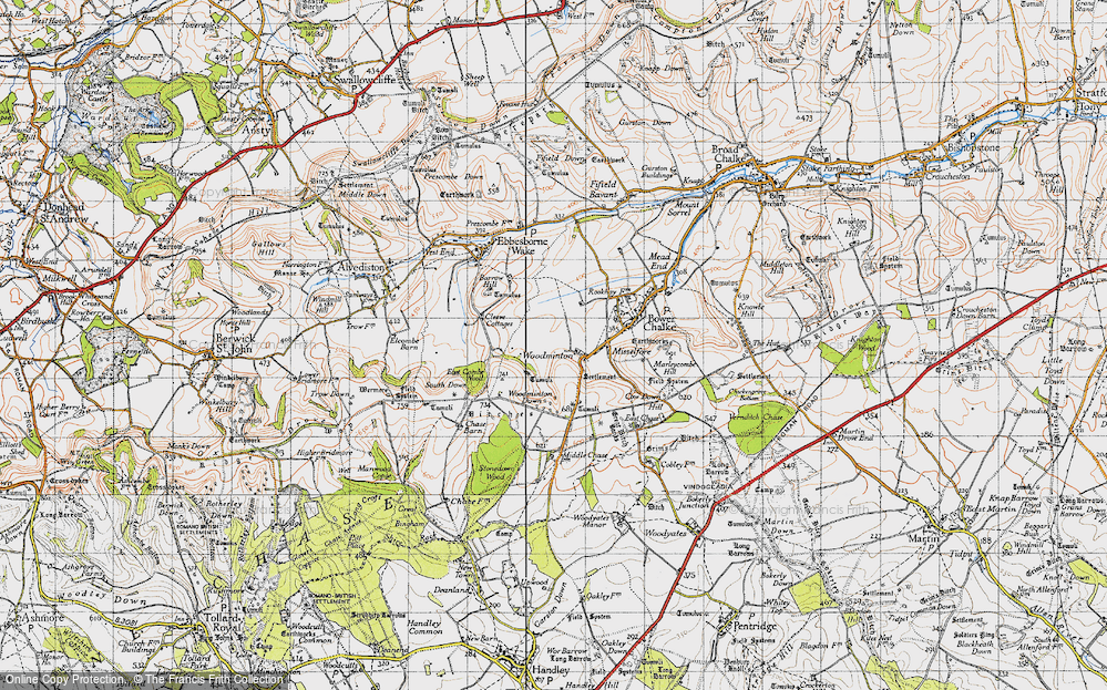 Old Map of Historic Map covering Woodminton Down in 1940