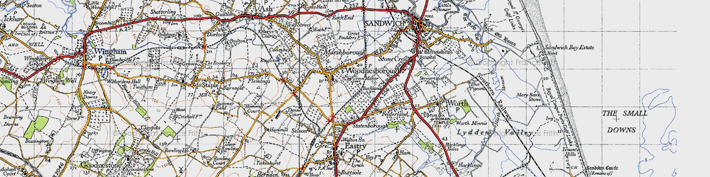 Old map of Woodnesborough in 1947