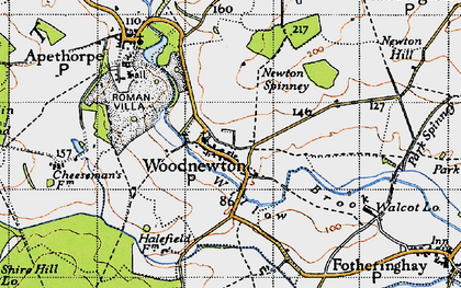 Old map of Woodnewton in 1946