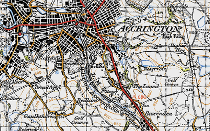 Old map of Woodnook in 1947