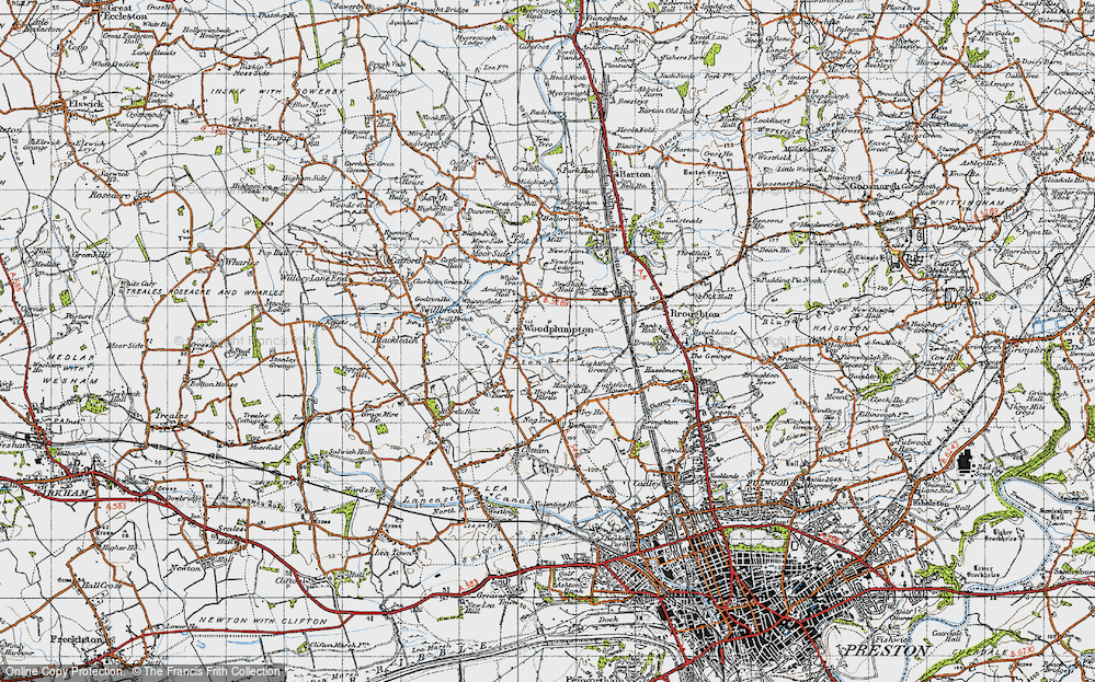 Old Map of Historic Map covering Woodplumpton Brook in 1947