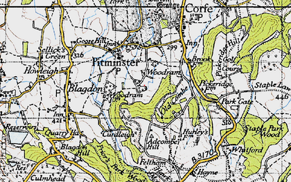 Old map of Adcombe Hill in 1946