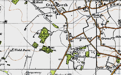 Old map of Woodrising Wood in 1946