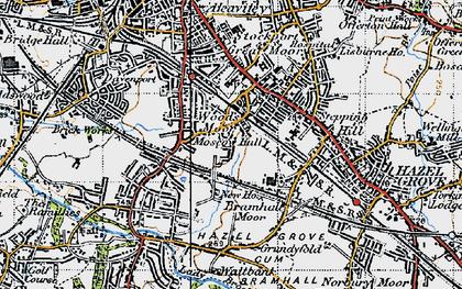 Old map of Woods Moor in 1947