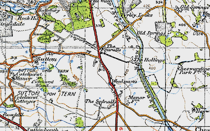 Old map of Woodseaves in 1947