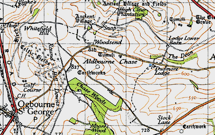 Old map of Aldbourne Chase in 1947