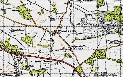 Old map of Woodsetts in 1947