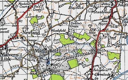 Old map of Woodsfield in 1947