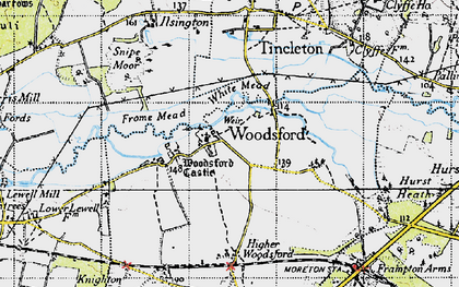 Old map of Woodsford in 1945