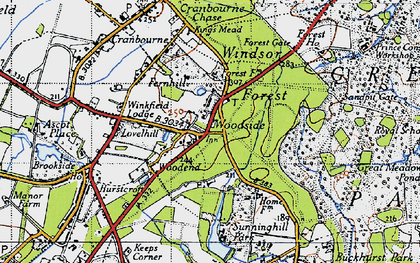 Old map of Woodside in 1940