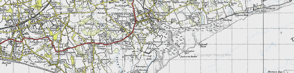 Old map of Woodside in 1945