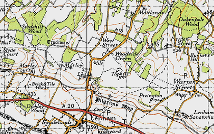 Old map of Woodside Green in 1940