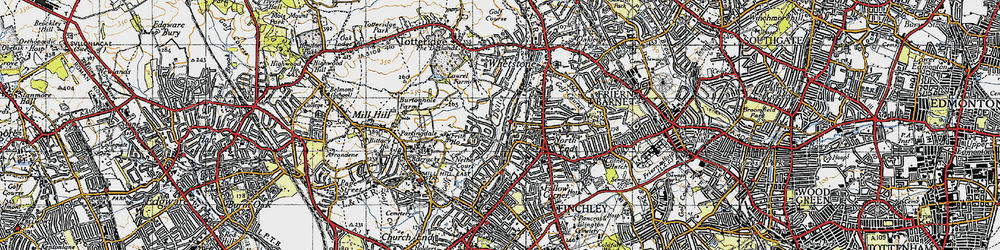 Old map of Woodside Park in 1945
