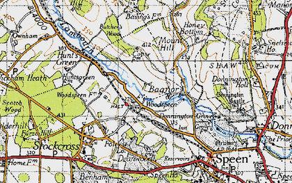 Old map of Woodspeen in 1945