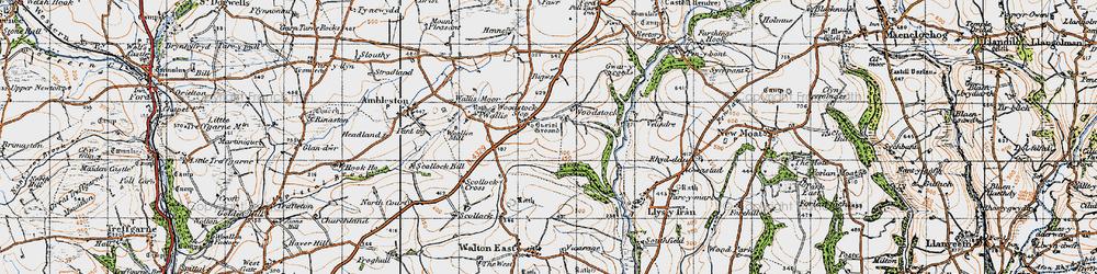 Old map of Woodstock Cross in 1946