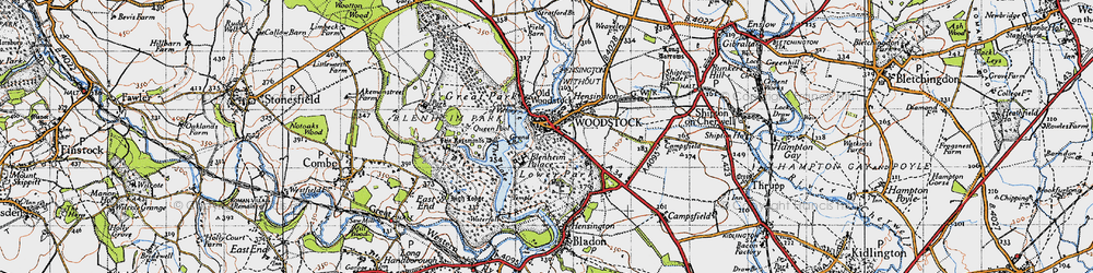 Old map of Woodstock in 1946