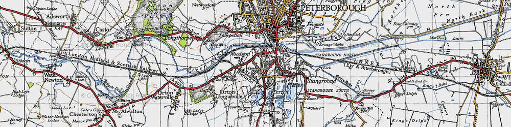 Old map of Woodston in 1946