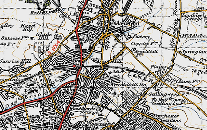 Old map of Woodthorpe in 1946