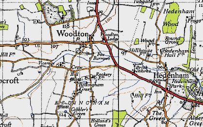 Old map of Woodton Lodge in 1946