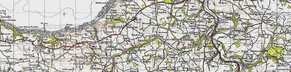Old map of Winscott Barton in 1946