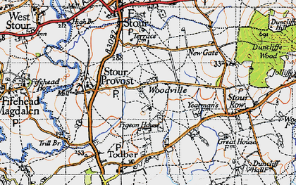 Old map of Woodville in 1945