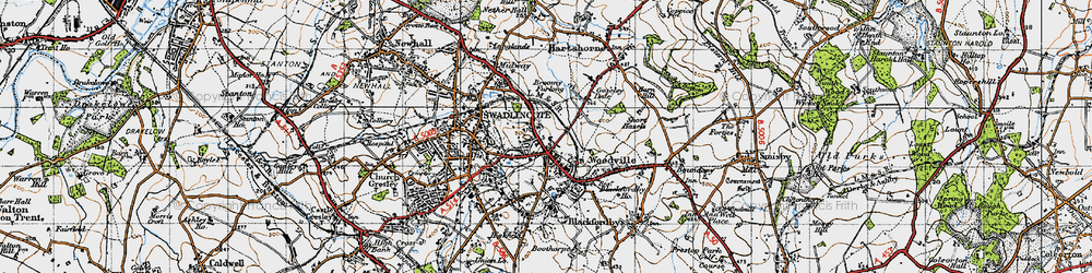 Old map of Woodville in 1946