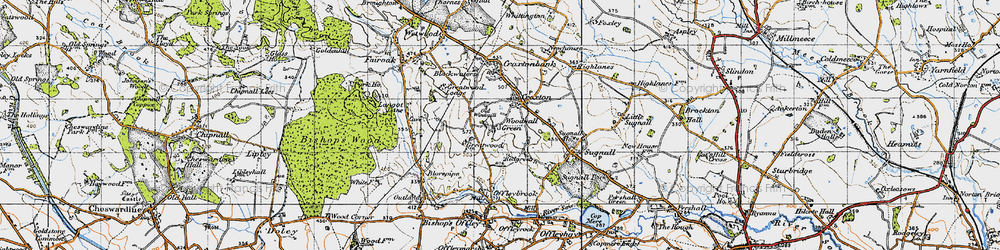 Old map of Woodwall Green in 1946