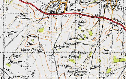 Old map of Langdon Hill in 1947