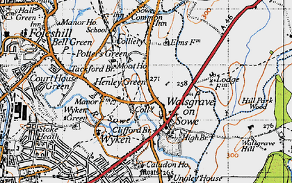 Old map of Woodway Park in 1946