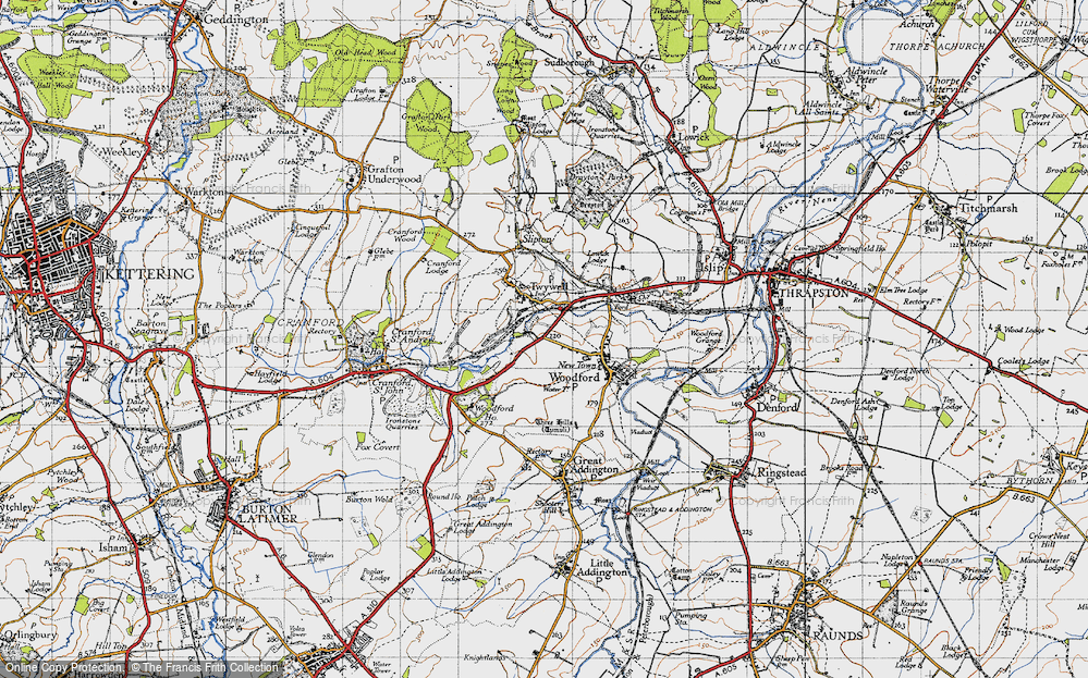 Old Map of Historic Map covering Woodford Ho in 1946