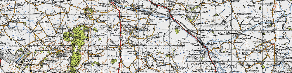 Old map of Woodworth Green in 1947