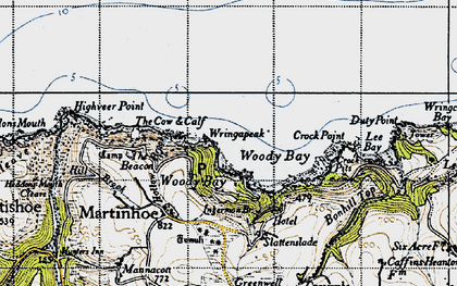Old map of Woody Bay in 1946