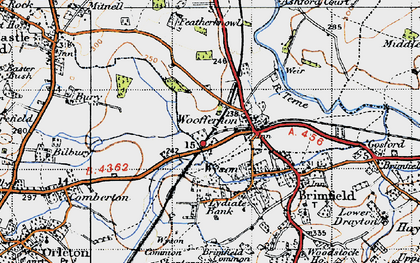 Old map of Woofferton in 1947