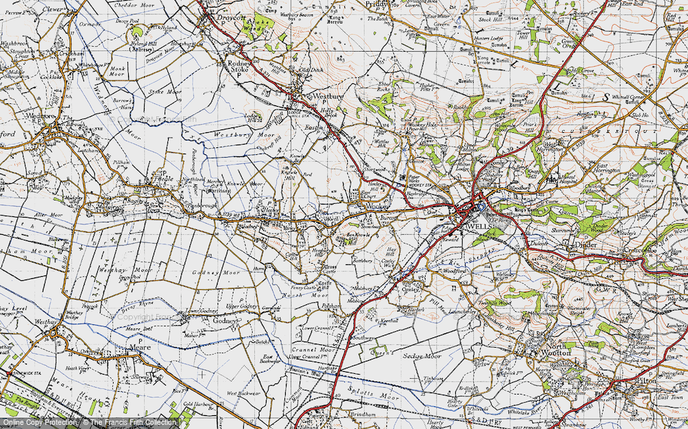 Old Map of Wookey, 1946 in 1946