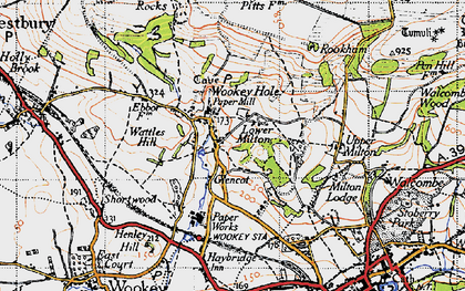 Old map of Wookey Hole in 1946